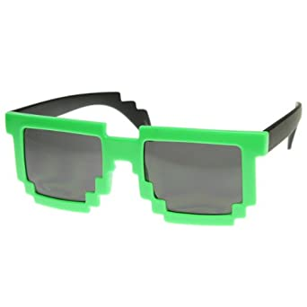 Retro Novelty Nerd Geek Gamer Colorful 2-Tone Pixel Glasses (Green with Black finish )
