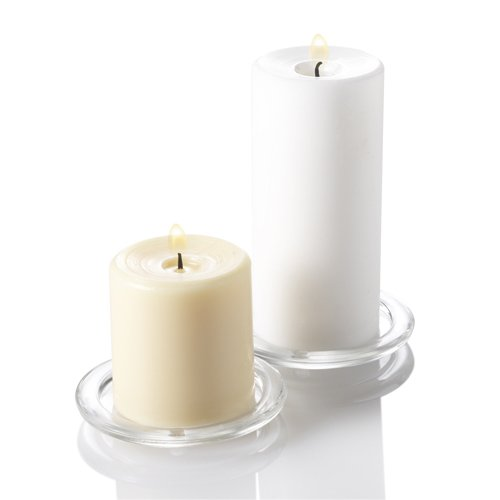 Set of 6 Round Glass Pillar Candle Holders