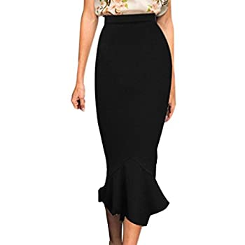 VfEmage Women's Vintage High Waist Wear To Work Bodycon Mermaid Pencil Skirt