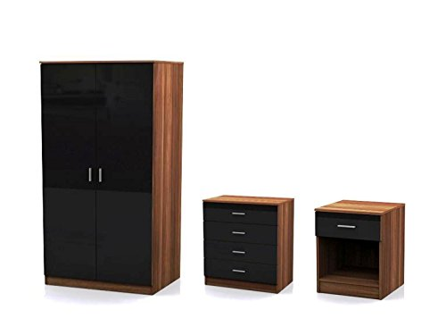 3 Piece Bedroom Set Black High Gloss Walnut Frame Double Wardrobe, Bedside Cabinet, Chest of Drawers