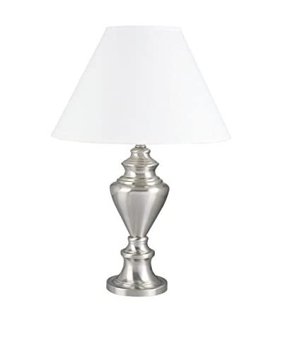 ORE International Metal Table Lamp, Satin Nickel