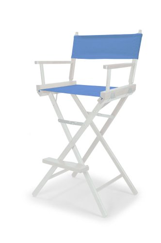 Telescope Casual Heritage Bar Height Director Chair, Periwinkle with White Frame