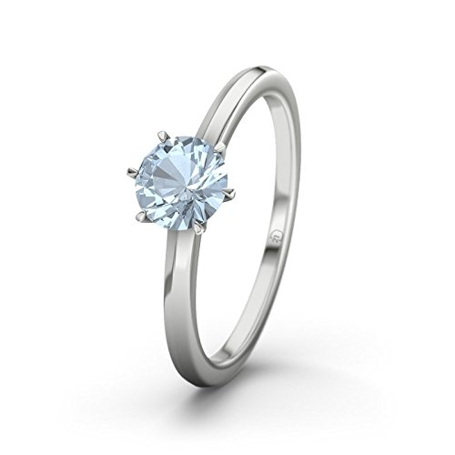 21DIAMONDS Women's Ring Québec Blue Topaz Diamond Engagement Ring - Silver Engagement Ring
