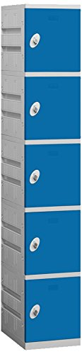 Salsbury Industries 95168BL-U Unassembled Five Tier 1-Inch Wide 73-Inch High 18-Inch Deep Plastic Locker, Blue