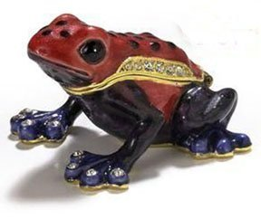 Red Poison Dart Frog Bejeweled Jeweled Trinket Box