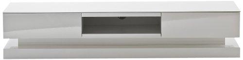 59071W4 Step Media TV Lowboard, RGB LED Wechselbeleuchtung mit Fernbedienung, 2 Schubkästen, 1 Fach, 180 x 39 x 36 cm, MDF Hochglanz weiß lackiert
