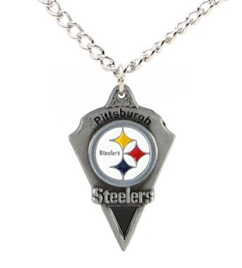 Pittsburgh Steelers Chain Necklace & Pewter Pendant - NFL Football Fan Shop Sports Team Merchandise
