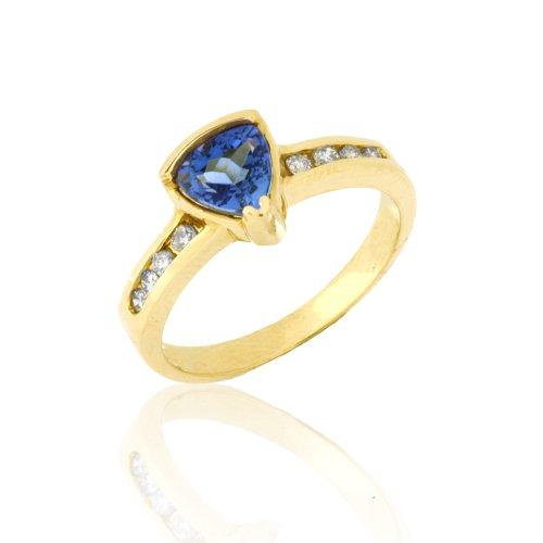 Tanzanite and Diamond Ring in 10K Yellow Gold