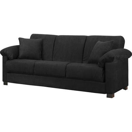 Montero Microfiber Convert-A-Couch Sofa Bed, Black