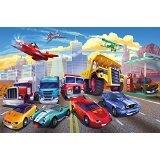 Wallpaper Children's Room Cars Planes Race Cars - Decoration Cars - Fire Brigade - Great Art