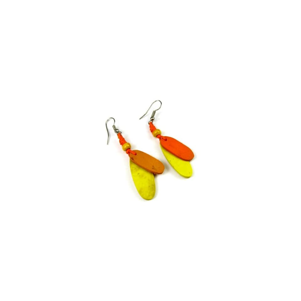 Autumn Harvest Two Tone Coco Wood Dangle Earrings Jewelry