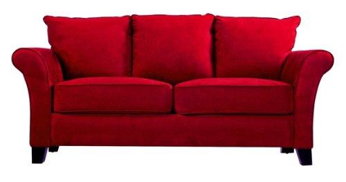 Handy Living MLN1 SX AAA47 Milan Transitional Flared Arm Microfiber Sofa, Crimson  Red