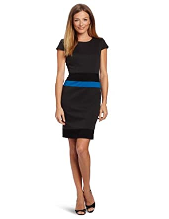 Anne Klein Women's Color Block Ponte Sheath Dress, Blue, 4 at Amazon