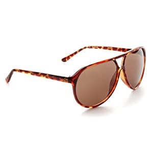 Zoom Classic Sunglasses Plastic Aviator Tear Drop Shape with Double Brow, Tortoise Color Frames/Brown Color Lenses, Large