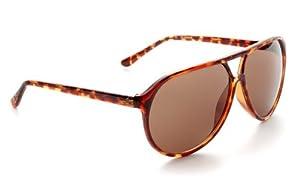 Zoom Classic Sunglasses Plastic Aviator Tear Drop Shape with Double Brow, Tortoise Color Frames/Brown Color Lenses, Large