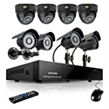 Zmodo 8channel DVR Security Cameras System w/ 4 Outdoor Bullet+ 4 Indoor Dome 600TVL Hi-Resolution Video Surveillance Cameras 1TB HDD