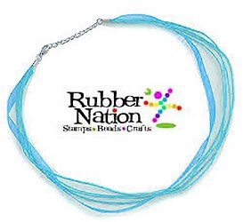 "Neck Cord 3-Strand Organza With Clasp 18"" Aqua"