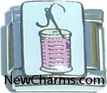 Spool Of Thread And Needle Sewing Italian Charm Bracelet Jewelry Link