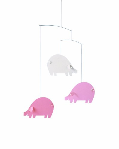 Flensted Mobiles Nursery Mobiles, Piggy Mobile Pink Light Blue