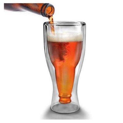Hopside Down / Upside Down Beer Steins Glasses Double-deck Peer Glass Mug Cup-transparent