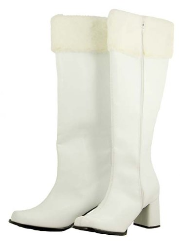 Women's Sexy Mrs. Claus White with Faux Fur Knee High Christmas Boots - Size 12