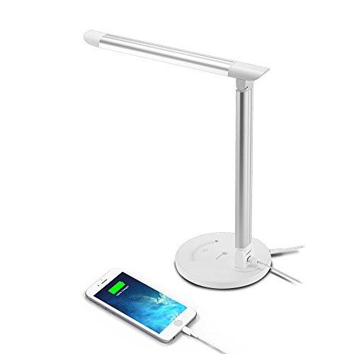 Lampada da Tavolo LED TaoTronics 12W, 7 livelli Dimmerabili, 5 Modalità graduali di Colore, Touch Control, Luce gradevole per Occhi, Porta di Ricarica USB per Smartphone e dispositivi mobili.