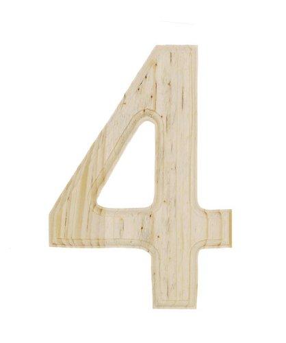 darice 0992 4 decorative wood number 4 6 inch home. Black Bedroom Furniture Sets. Home Design Ideas