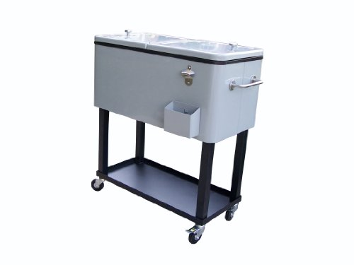 Oakland Living 90010-MT Steel Patio Cooler with Cart, 80-Quart, Metallic Grey