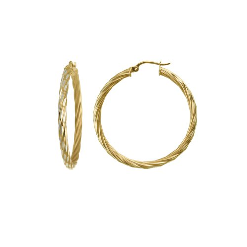 18k Yellow Gold Plated Sterling Silver Twisted Hoop Earrings (1.38
