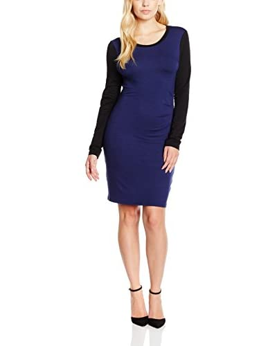 Stellar Vestido Pleated Front Azul / Negro