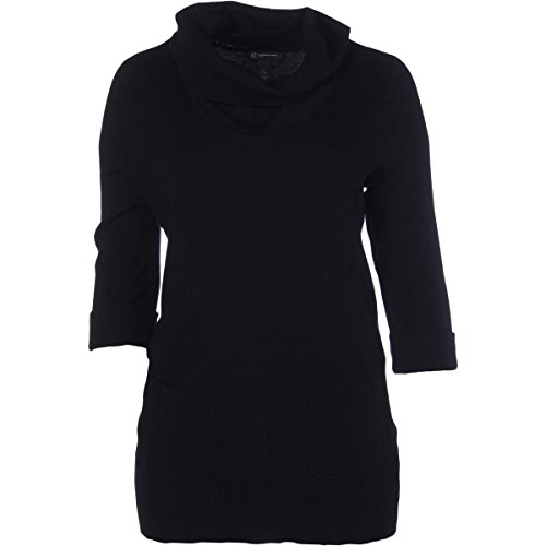 INC Womens Plus Ribbed Knit Cuff Sleeves Tunic Sweater Black 0X (Inc Womens Sweaters compare prices)