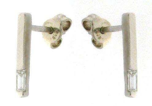 Elegant Quality Anti-Tarnish 925 Sterling Silver Ladies Diamond Drop Earrings Baguette Cut 0.16 Carat G-VS - 14mm