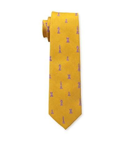 J. McLaughlin Men's Narrow Silk Jacquard Tie, Orange/Pink