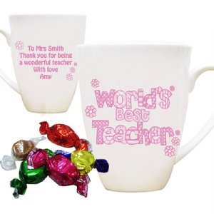Personalised World's Best Teacher Pink Mug with Chocolates