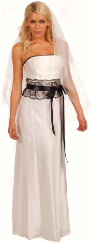 Strapless Lace Empire Waist Full Length Wedding Party Gown Bridal Dress