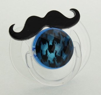 Black Mustache Pacifier With Houndstooth Design (Blue)
