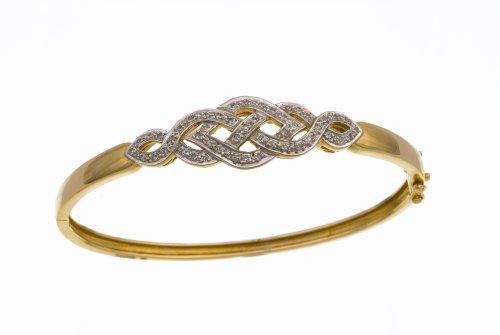Ladies' Diamond Bangle, 9ct Yellow Gold, Pave Setting 0.26 Carat Diamond Weight, Model PBC1086