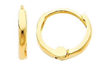 14K Yellow Gold 1.5mm Tiny Huggies Earrings for Babies & Kids (0.3