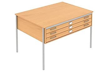 BEECH A1 3 DRAWER PLAN CHEST STORAGE TABLE FURNITURE FOR MAPS, ARCHITECT, ARTIST, DRAWINGS, BUSINESS, SCHOOLS OR HOME