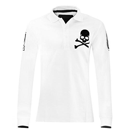 Philipp Plein Polo Long sleeve Seven Eight White Longsleeve Sweatshirt Poloshirt Langarmshirt Herren Shirt Slim-Fit körperbetont Langarm T-Shirt Operteil Weiss mit Stickerei und Applikationen (XL) thumbnail