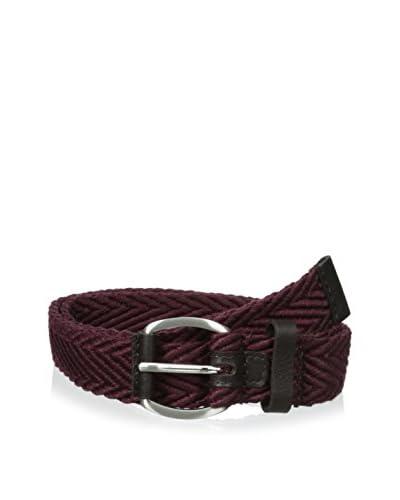 Ben Sherman Men's Herringbone Webbing And Leather Belt
