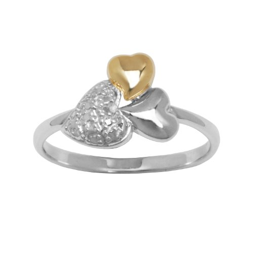 10k Yellow Gold Sterling Silver Anti-Tarnish Two-Tone Triple Heart Ring, Size 7