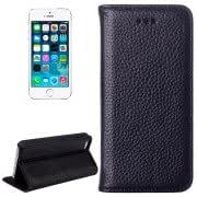 Litchi Texture Horizontal Flip Top-grain Leather Case with Card Slots Holder for iPhone 5 5S(Black)