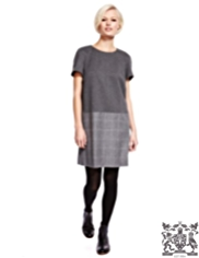 Best of British Wool Rich Checked Shift Dress with Cashmere