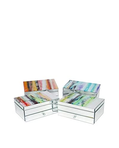 Three Hands Set of 4 Mirrored Wooden Boxes, Multi