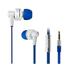 "Cable Hunterâ""¢ Hot Selling AWEI In-Ear Earbuds Headset with Mic Microphone and Volume Control Heavy Stereo Bass with 3.5mm Jack- White & Blue - 2 Years Warranty"