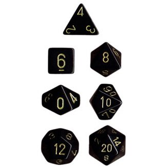 Polyhedral 7-Die Opaque Chessex Dice Set - Black with Gold Numbers
