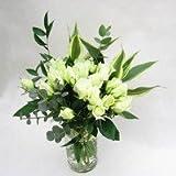 白系のバラの花束 30本 季節のグリーン付き【生花】【お祝い】記念日】【誕生日】【フラワーギフト】【バラ】