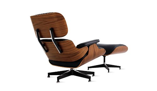 Kardiel Eames Style Plywood Lounge Chair & Ottoman, Black Aniline/Palisander
