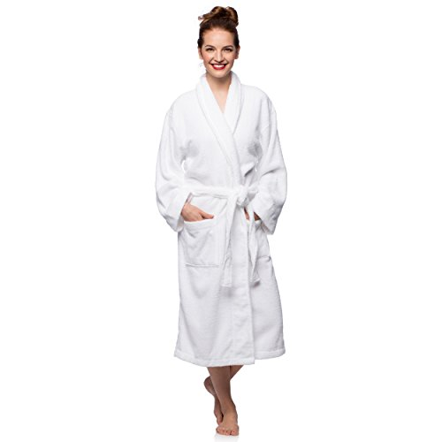 Cheer Collection Luxurious Cotton Small/MediumTerry Bathrobe with Shawl Collar - White Personalized Cheer Shorts